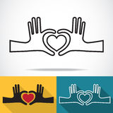 Hands in the form of heart vector illustration