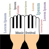 Hands in the form piano keys with copyspace for text Royalty Free Stock Photography
