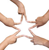 Hands in the form of a star. On white background Royalty Free Stock Photos