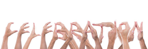 Hands form the word celebration Royalty Free Stock Photography