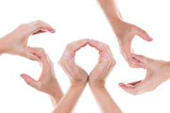 Hands form the word sos Stock Images
