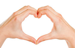 Hands forming a heart. Male hands forming a heart, isolated on white Royalty Free Stock Image