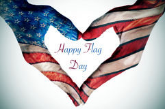 Hands forming a heart patterned as the flag of the United States Royalty Free Stock Photo