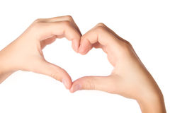 Hands forming heart shape isolated on white royalty free stock photos