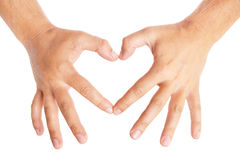 Hands forming a heart on white background Stock Image