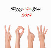 Hands forming number 2014 Stock Image