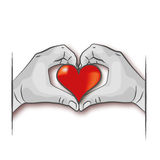 Hands are forming a red heart Stock Images