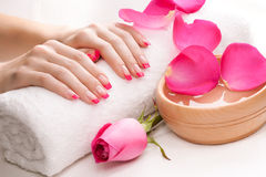Hands with fragrant rose petals and towel. Spa Stock Images