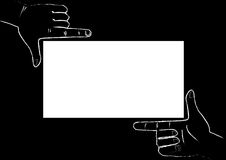 Hands framing. White frame, black background Royalty Free Stock Photography