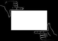Hands framing. White frame, black background royalty free illustration