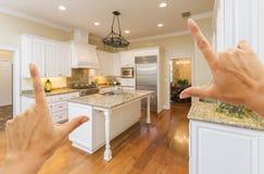 Hands Framing A Beautiful Custom Kitchen. Female Hands Framing A Beautiful Custom Kitchen Interior Stock Photography