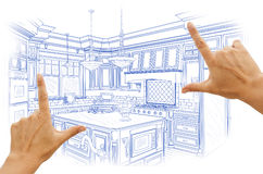 Hands Framing Blue Custom Kitchen Design Drawing Stock Image