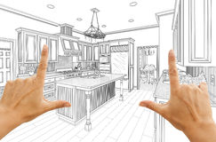 Hands Framing Custom Kitchen Design Drawing Stock Photo