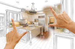 Hands Framing Custom Kitchen Design Drawing and Photo Combination royalty free stock photography