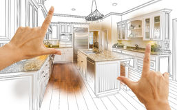 Hands Framing Custom Kitchen Design Drawing and Photo Combinatio Stock Photography