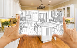 Hands Framing Custom Kitchen Design Drawing and Square Photo Com. Female Hands Framing Custom Kitchen Design Drawing and Square Photo Combination royalty free stock photo