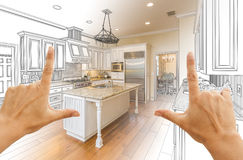 Hands Framing Gradated Custom Kitchen Design Drawing and Photo C. Female Hands Framing Gradated Custom Kitchen Design Drawing and Photo Combination Royalty Free Stock Images