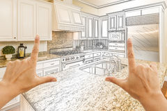 Hands Framing Gradated Custom Kitchen Design Drawing and Photo C. Female Hands Framing Gradated Custom Kitchen Design Drawing and Photo Combination Royalty Free Stock Photos