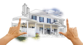 Hands Framing House Drawing and Photo on White Stock Image