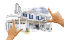 Hands Framing House Drawing and Photo on White Stock Photo