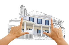 Hands Framing House Drawing and Photo on White Royalty Free Stock Photo