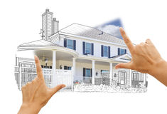 Hands Framing House Drawing and Photo on White Royalty Free Stock Image