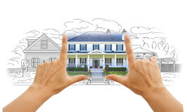 Hands Framing House Drawing and Photo on White. Hands Framing House Drawing and Photo Combination on White stock images