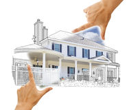 Hands Framing House Drawing and Photo on White Royalty Free Stock Images