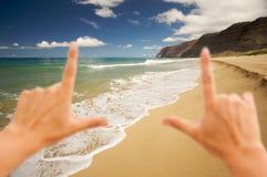 Hands Framing Polihale Beach, Kauai royalty free stock image