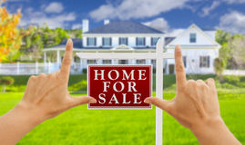 Hands Framing For Sale Real Estate Sign and New House Stock Images