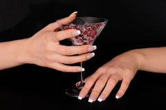 Hands with french manicure Stock Photo