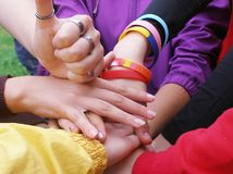 Hands of friendship Stock Photos
