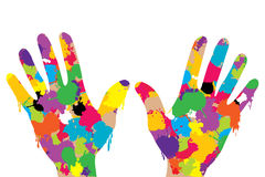 Hands full of colored paint Royalty Free Stock Photos