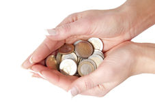Hands full of euro coins Royalty Free Stock Photography