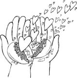 Hands full of flying hearts Stock Photos