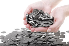 Hands full of one Zloty polish coins Stock Photos