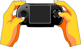 Hands on Game. User's hands manipulate a handheld game console. The screen is empty to fit lettering and adverts Royalty Free Stock Image