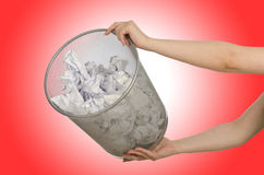 Hands with garbage bin Royalty Free Stock Image