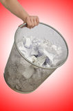 Hands with garbage bin Royalty Free Stock Images