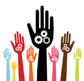 Hands with gears concept Royalty Free Stock Photography