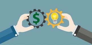 Hands Gears Idea Bulb Dollar Investor Concept Stock Photos