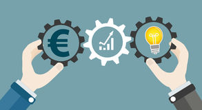 Hands Gears Idea Bulb Euro Investor Concept Success. Hands with gear wheels, euro, chart and idea bulb Royalty Free Stock Photos