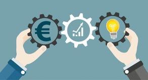 Hands Gears Idea Bulb Euro Investor Concept Success Royalty Free Stock Photos