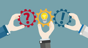 Hands Gears Idea Bulb Question Answer Teamwork Concept Royalty Free Stock Photo