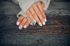 hands with gentle nail design. royalty free stock image