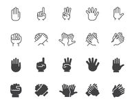 Hands gesticulation buttons in line and glyph style. Handshake, applause, index finger, palm, high five and other icons. Set of hands gesticulation buttons Stock Photography