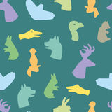 Hands gesture like different animals seamless pattern vector Stock Photography