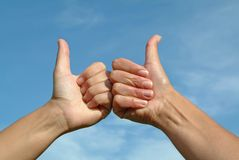 Hands gesture positive OK. Hands on sky gesture positive OK Royalty Free Stock Photography