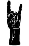Hands gesture. Vector  silhouette black-and-white image of  hand with fingers crossed in the figure Royalty Free Stock Photography