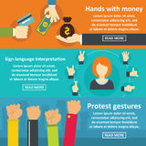 Hands gestures banner horizontal set, flat style Royalty Free Stock Image